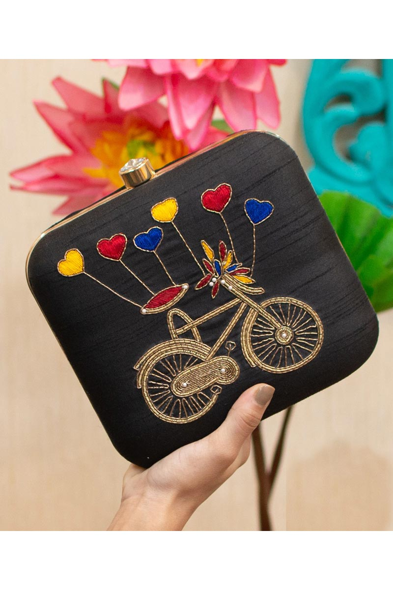 Art Silk Alluring Party Style Black Color Clutch Bag For Women