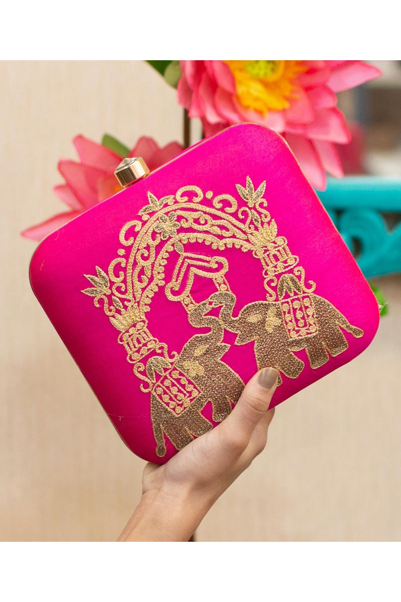 Art Silk Rani Color Party Style Alluring Clutch Bag For Women