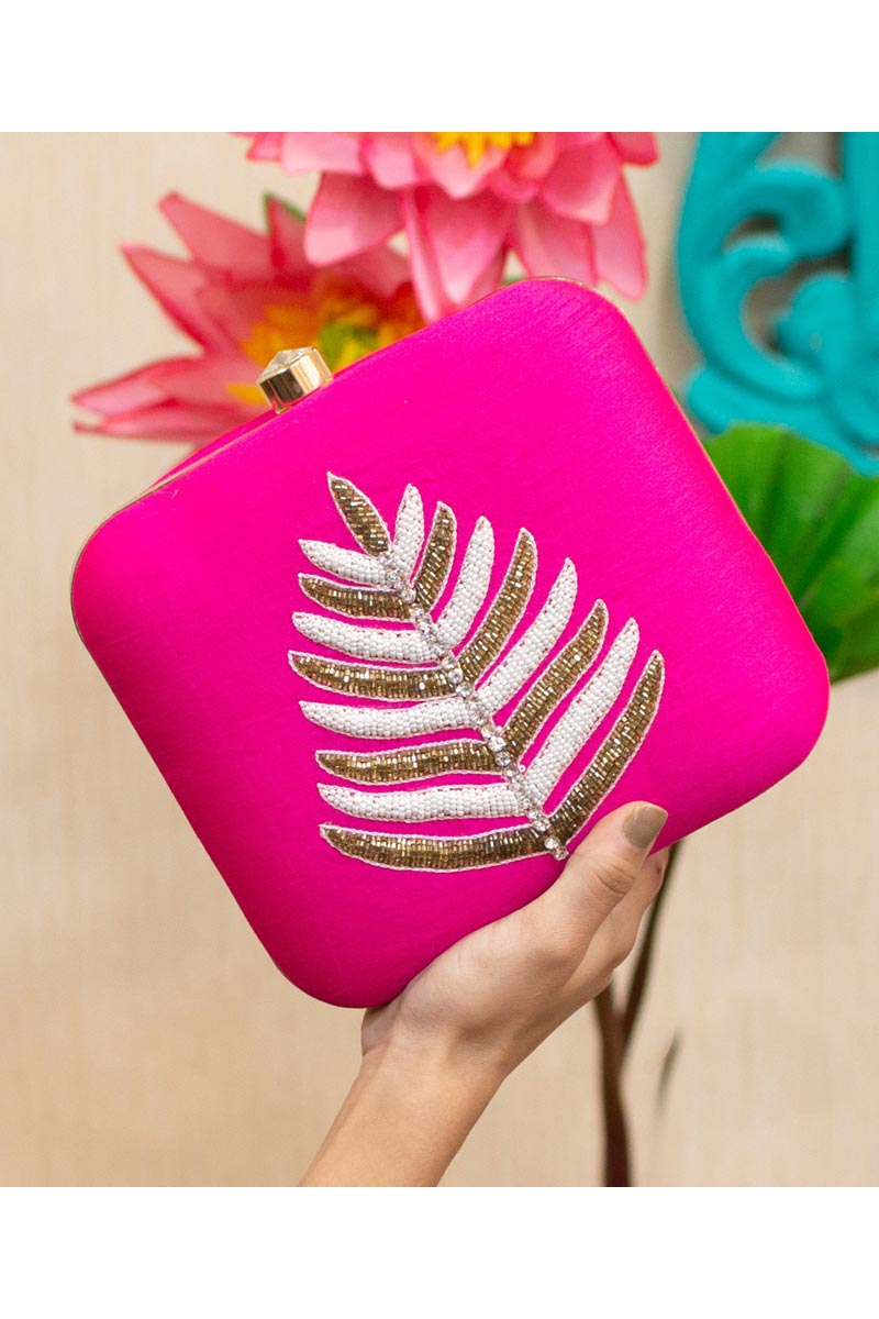 Womens Alluring Art Silk Party Style Clutch Bag In Rani Color