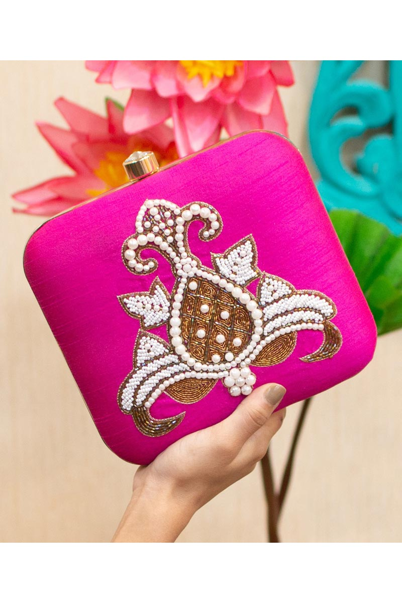 Art Silk Rani Color Alluring Party Style Clutch Bag For Women
