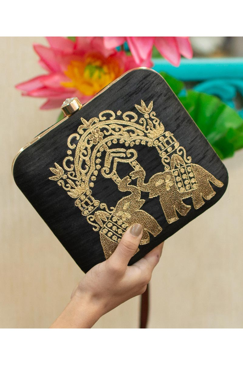 Alluring Party Style Clutch Bag For Women In Black Color