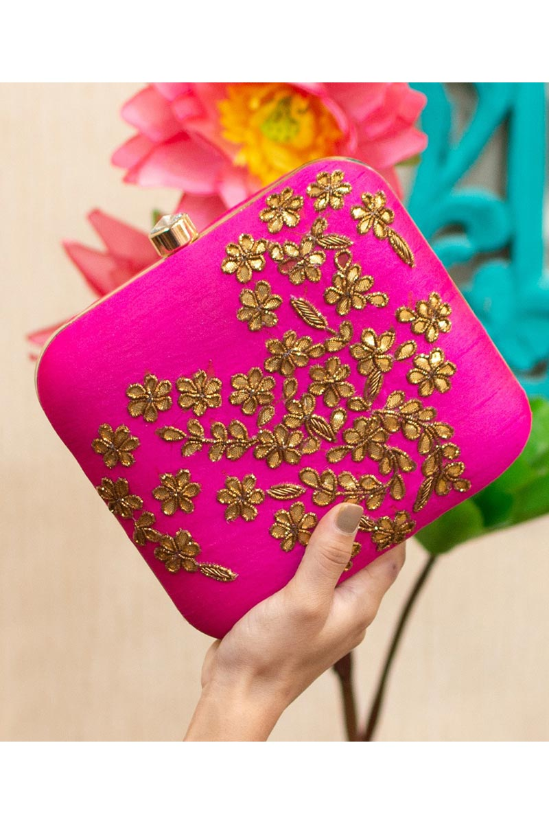Rani Color Alluring Party Style Art Silk Clutch Bag For Women