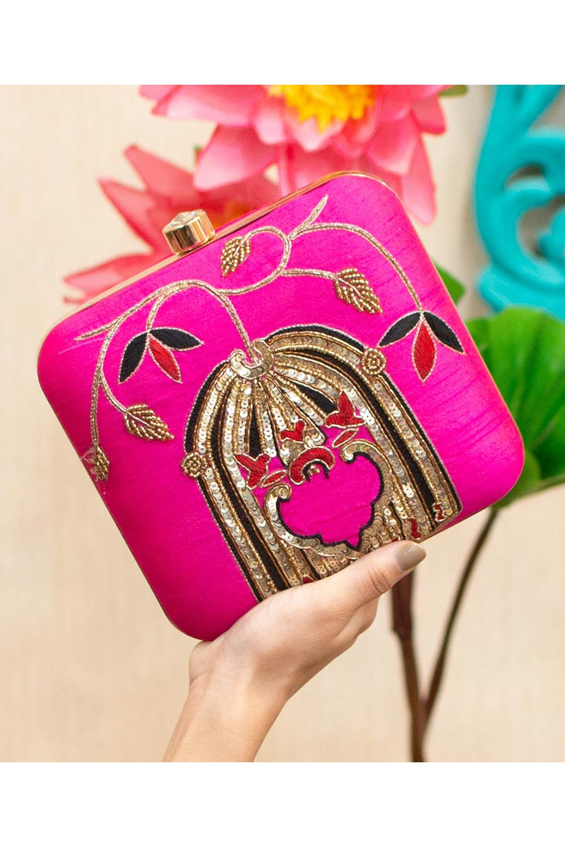 Alluring Party Style Rani Color Clutch Bag For Women