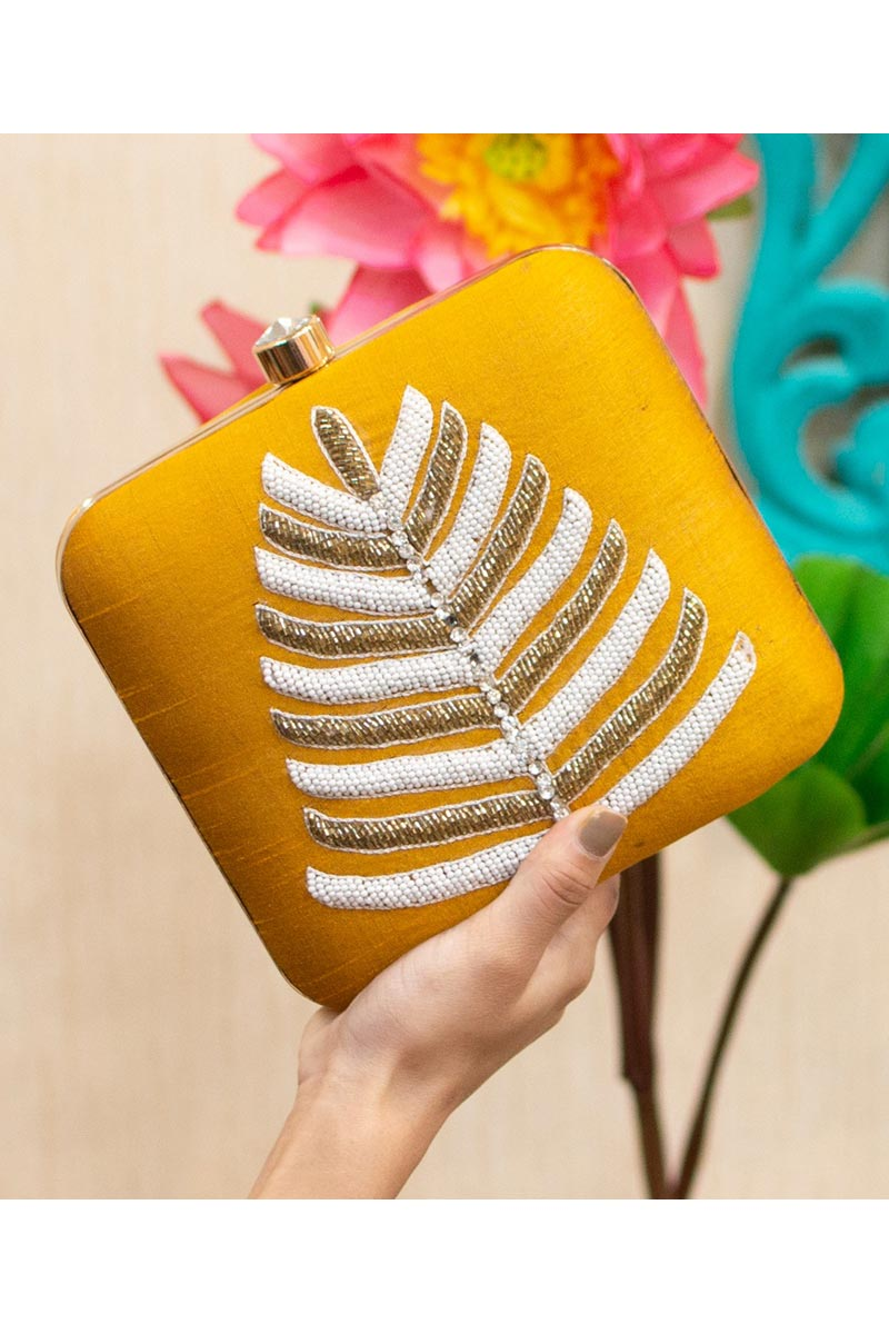 Yellow Color Party Style Alluring Clutch Bag For Women