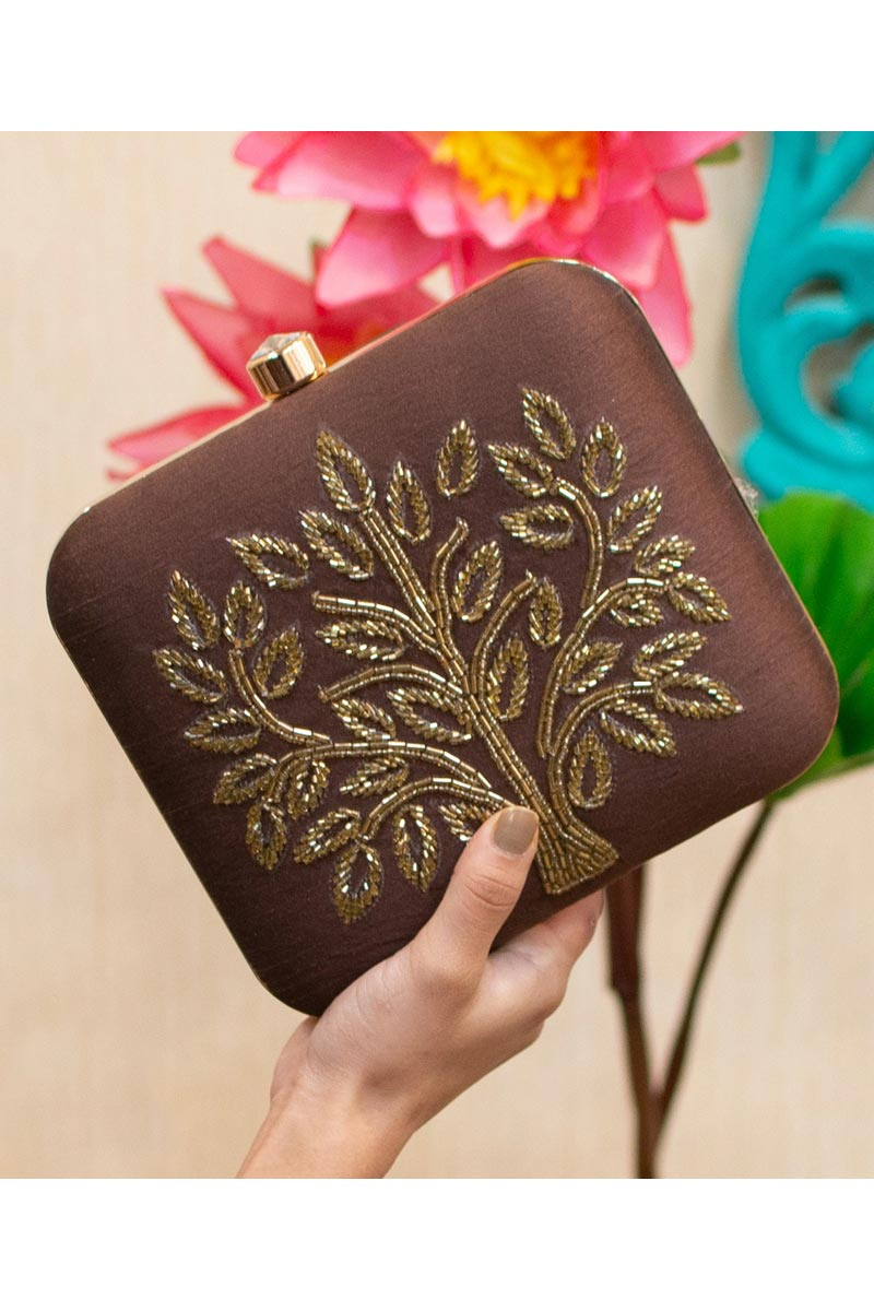 Alluring Party Style Brown Color Clutch Bag For Women