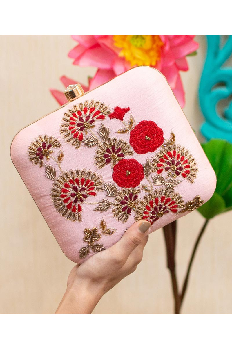 Pink Color Alluring Party Style Clutch Bag For Women