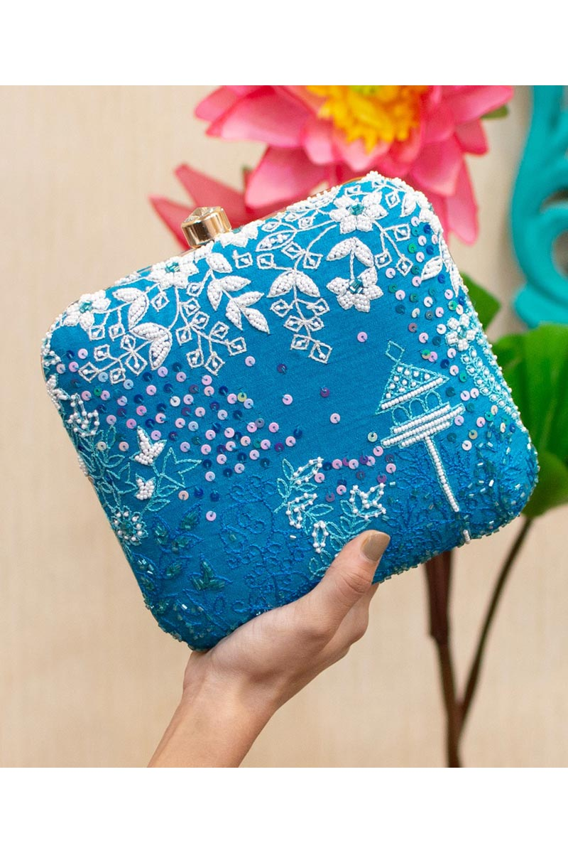 Alluring Party Style Clutch Bag For Women In Sky Blue Color