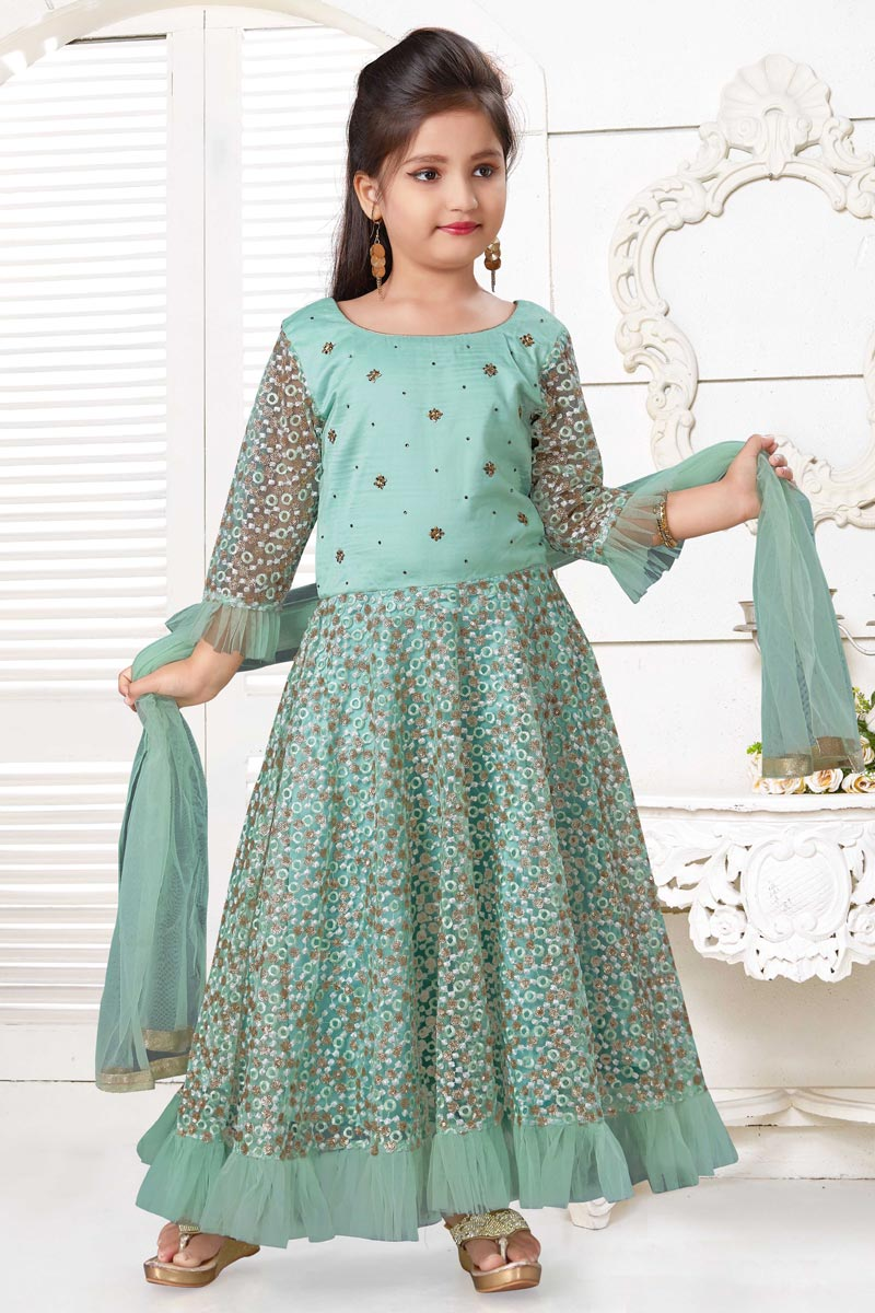 Sea Green Color Designer Function Wear Art Silk Fabric Gown