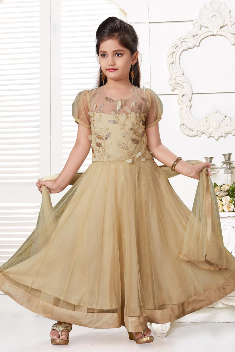 Trendy Beige Color Gown For Girls In Fancy Fabric