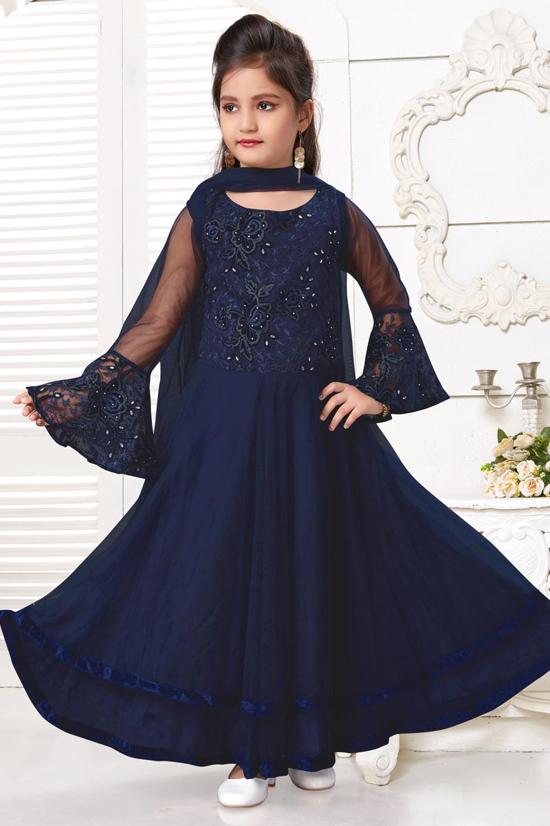 Girls Wear Party Style Navy Blue Color Gown In Net Fabric