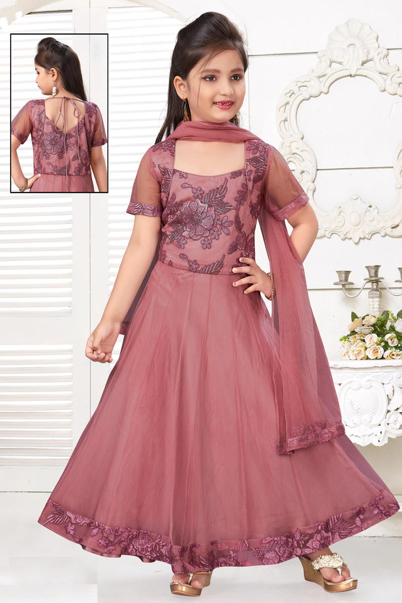 Function Wear Pink Color Net Fabric Gown For Girls
