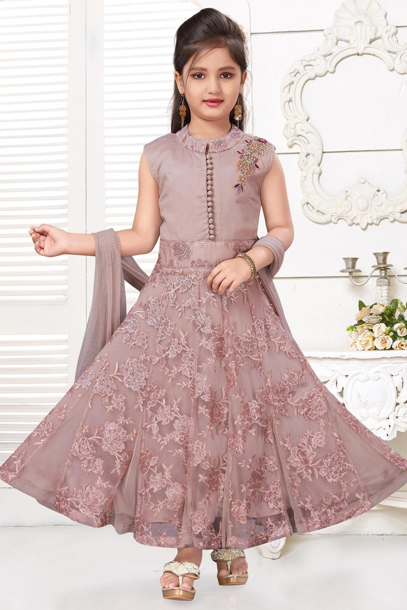 Pink Color Function Wear Gown For Girls In Fancy Fabric