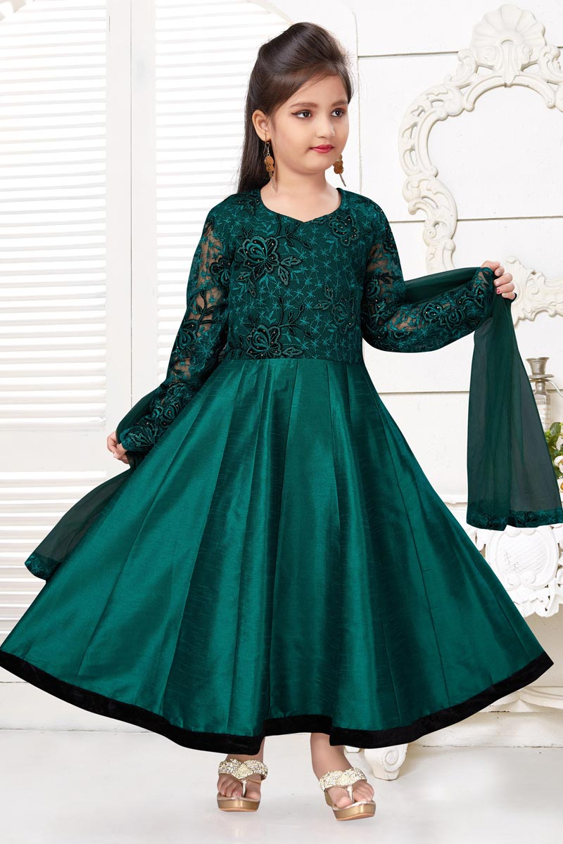 Girls Wear Teal Color Fancy Fabric Gown