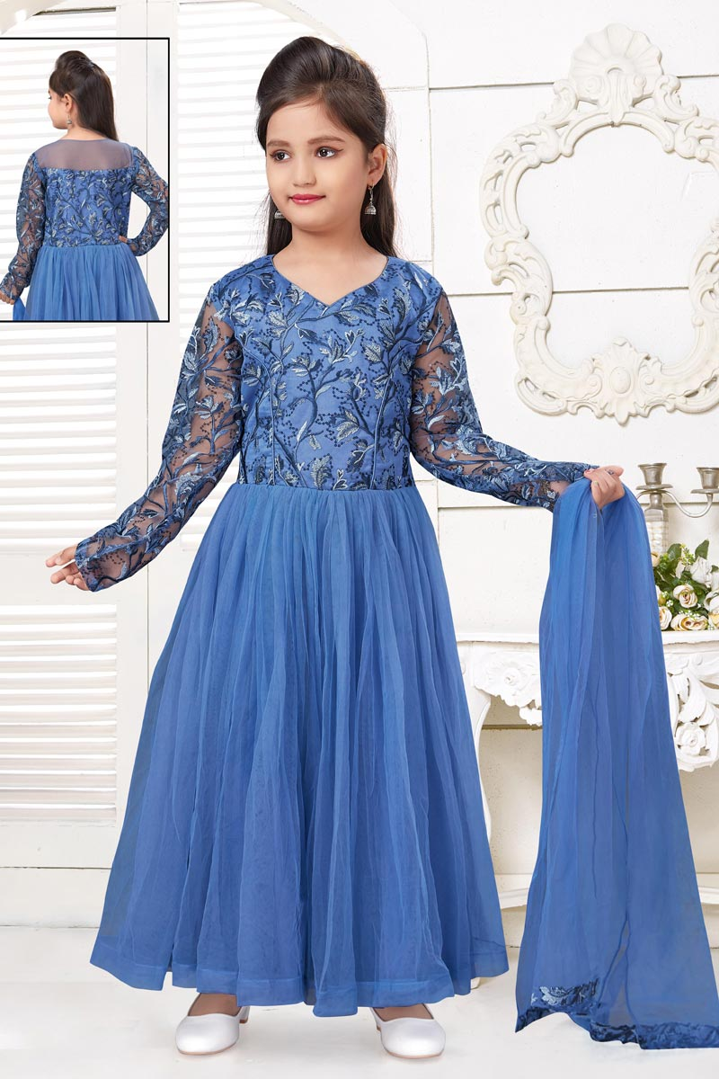 Designer Blue Color Net Fabric Gown For Girls