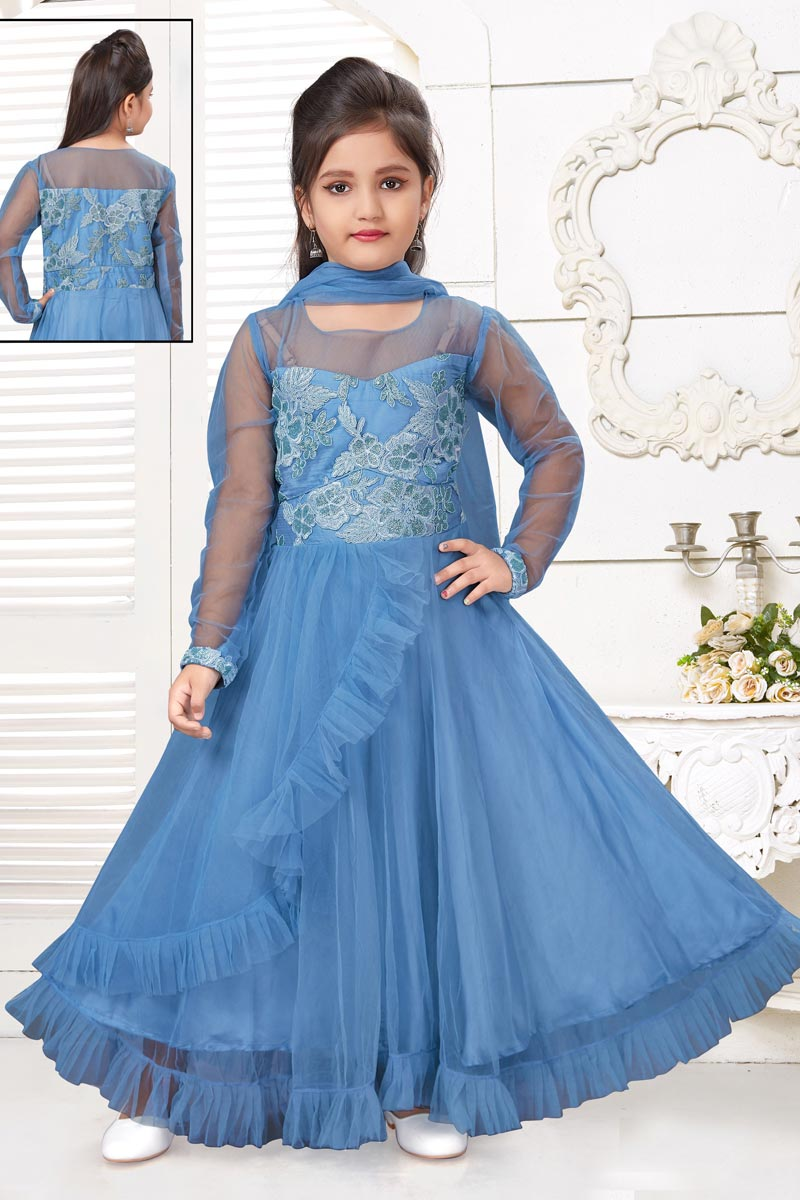 Girls Wear Party Style Blue Color Gown In Net Fabric