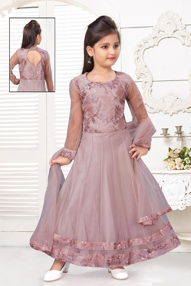 Traditional Wear Pink Color Gown For Girls In Net Fabric