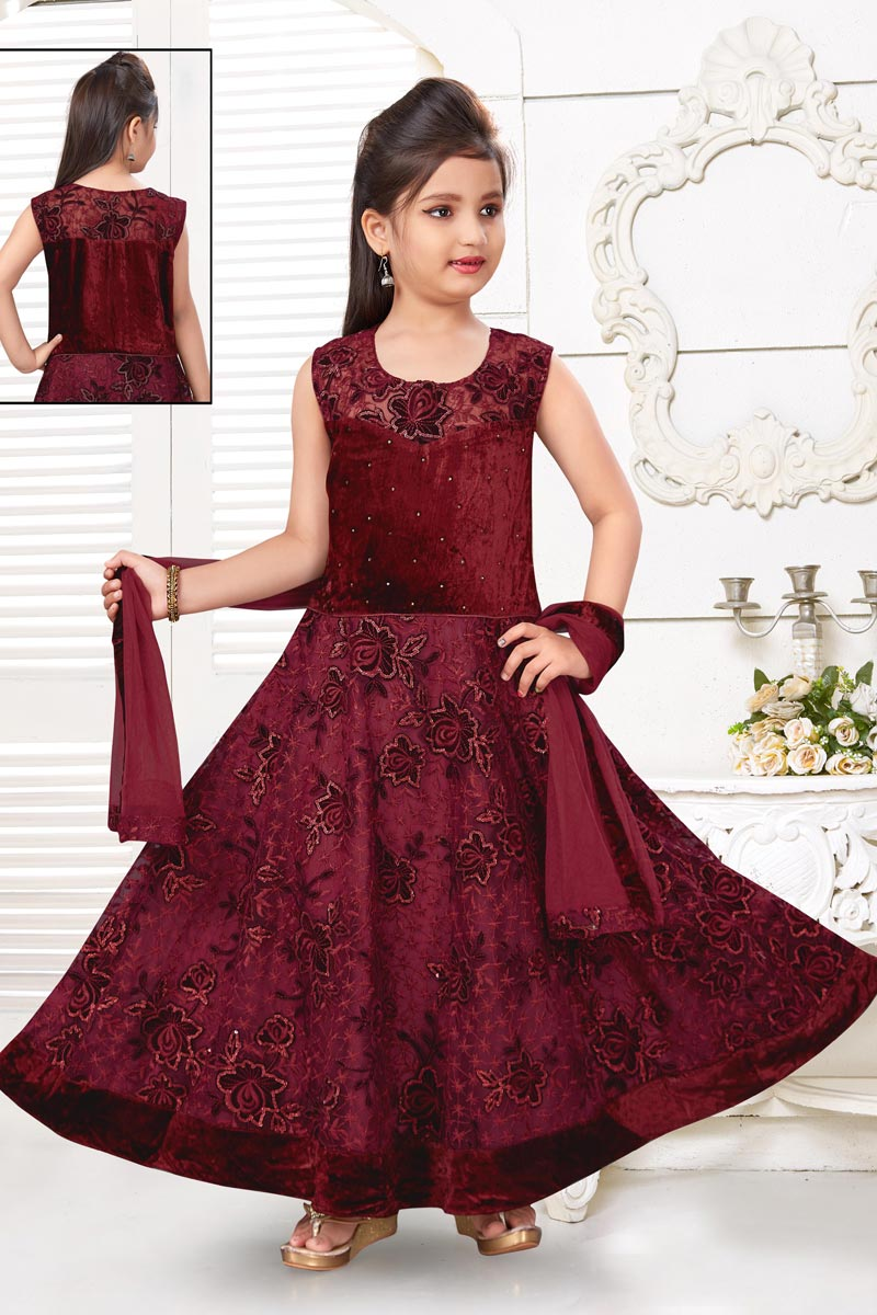 Maroon Color Function Wear Fancy Fabric Gown For Girls
