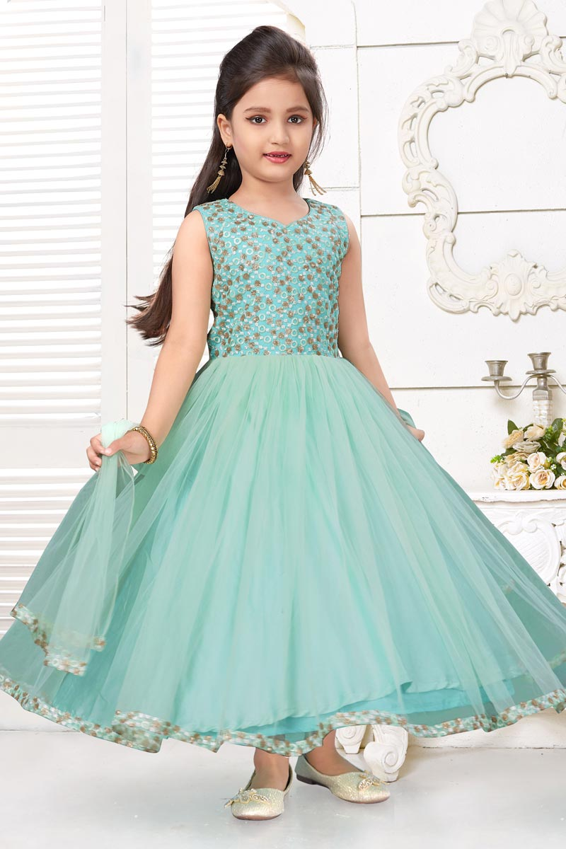 Sea Green Color Designer Function Wear Fancy Fabric Gown
