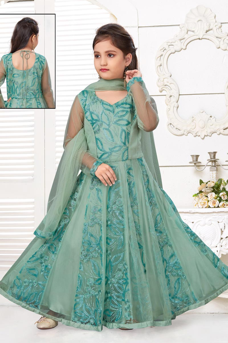Trendy Sea Green Color Gown For Girls In Fancy Fabric