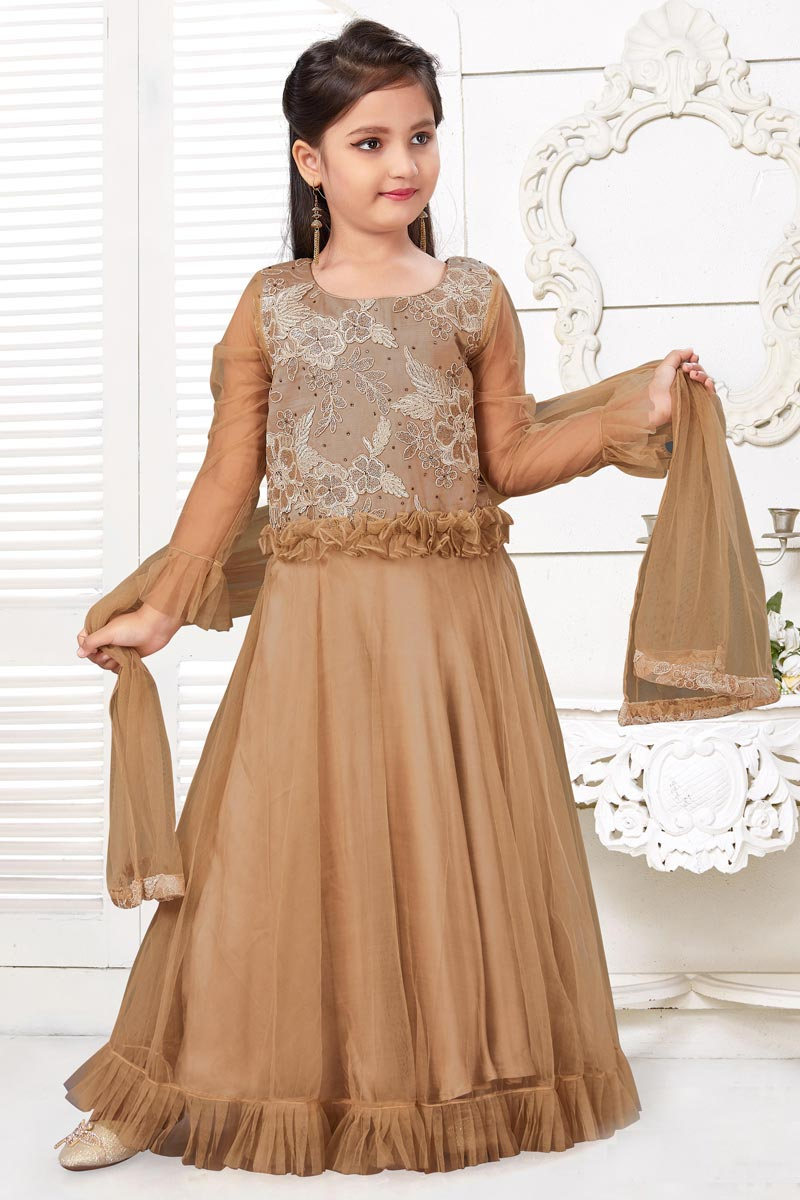 Girls Wear Party Style Chikoo Color Gown In Fancy Fabric