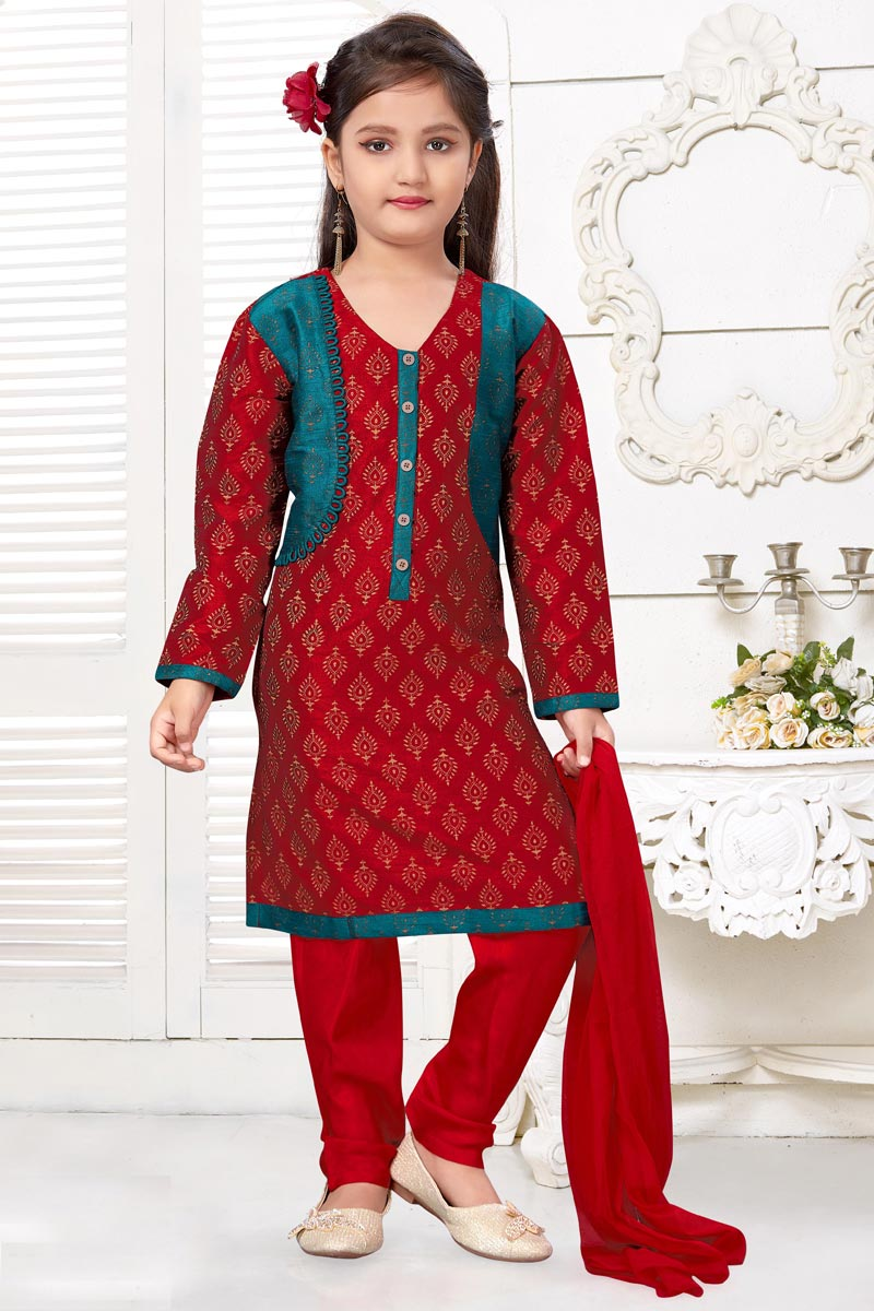 Function Wear Red Color Art Silk Fabric Salwar Suit For Girls
