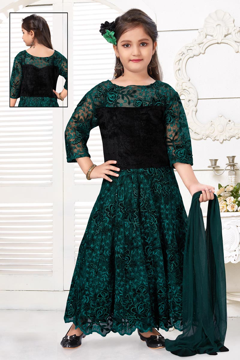 Teal Color Function Wear Gown For Girls In Fancy Fabric