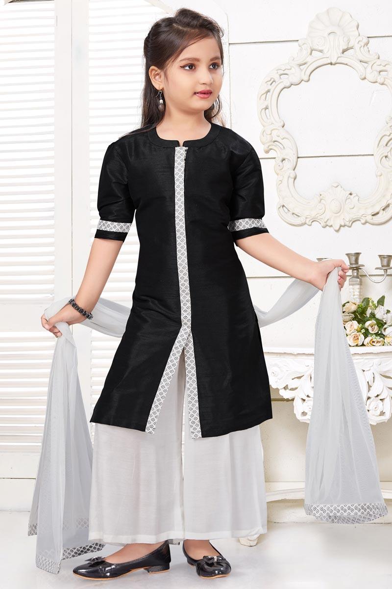 Girls Wear Black Color Art Silk Fabric Palazzo Suit