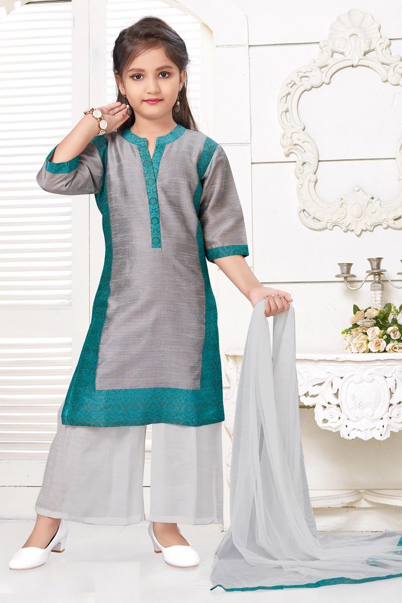 Designer Grey Color Art Silk Fabric Palazzo Dress For Girls