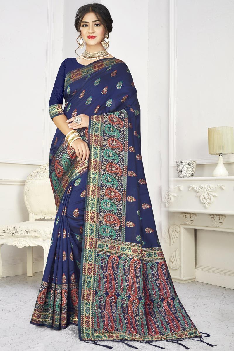 Art Silk Fabric Classic Puja Wear Navy Blue Color Weaving Work Saree