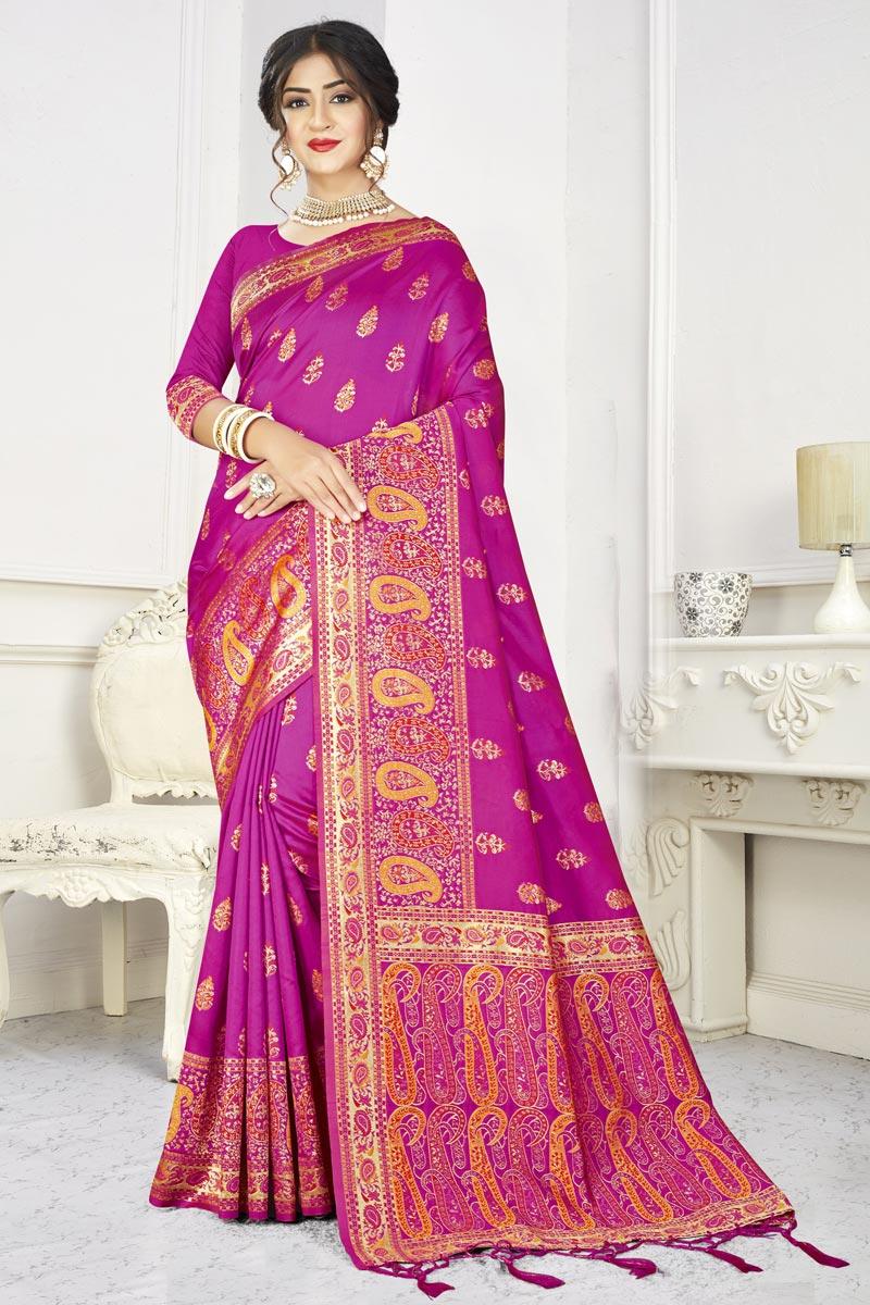 Rani Color Puja Wear Art Silk Fabric Classic Weaving Work Saree
