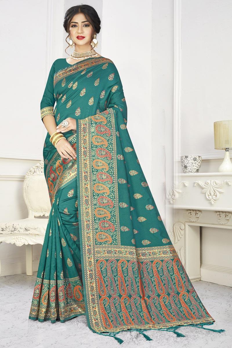 Art Silk Fabric Puja Wear Classic Cyan Color Weaving Work Saree