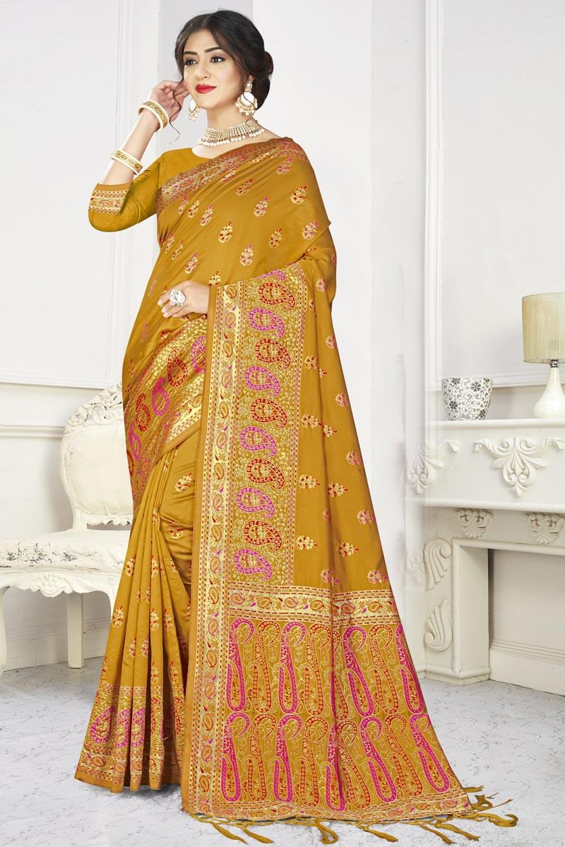 Puja Wear Mustard Color Classic Art Silk Fabric Weaving Work Saree