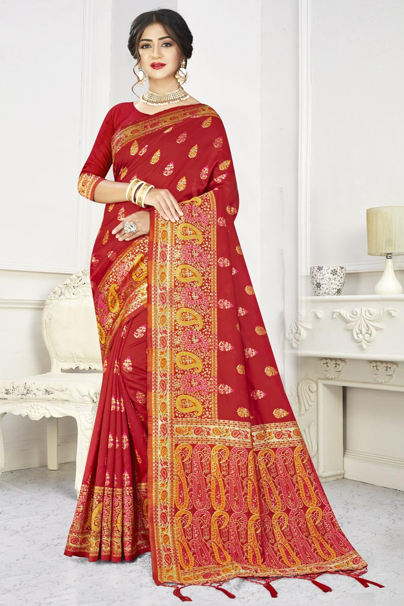 Red Color Puja Wear Classic Art Silk Fabric Weaving Work Saree