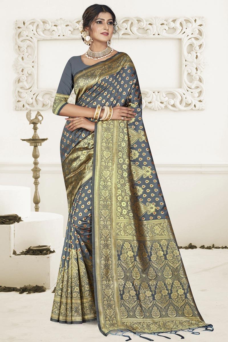 Puja Wear Grey Fancy Art Silk Fabric Weaving Work Saree