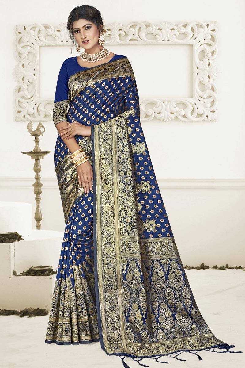 Puja Wear Art Silk Fabric Fancy Weaving Work Saree In Navy Blue