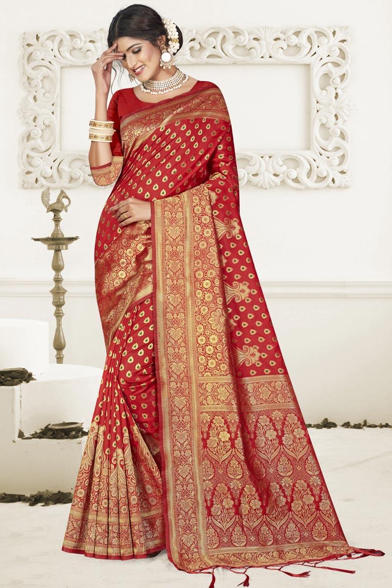 Red Puja Wear Fancy Art Silk Fabric Weaving Work Saree