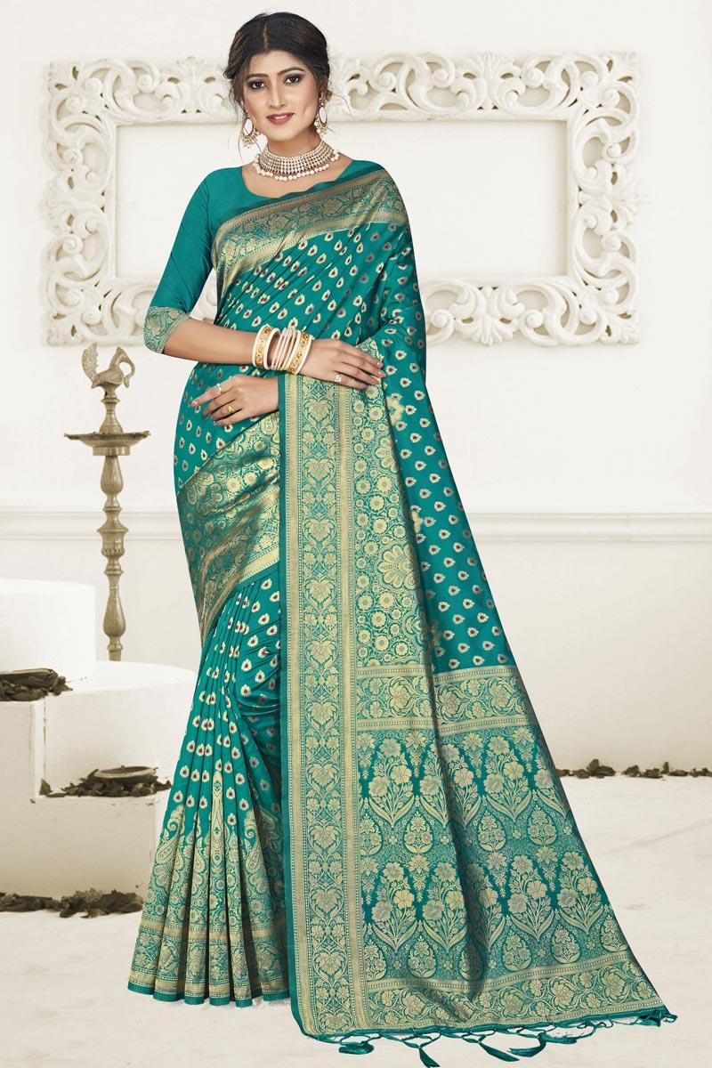 Art Silk Fabric Fancy Puja Wear Cyan Weaving Work Saree