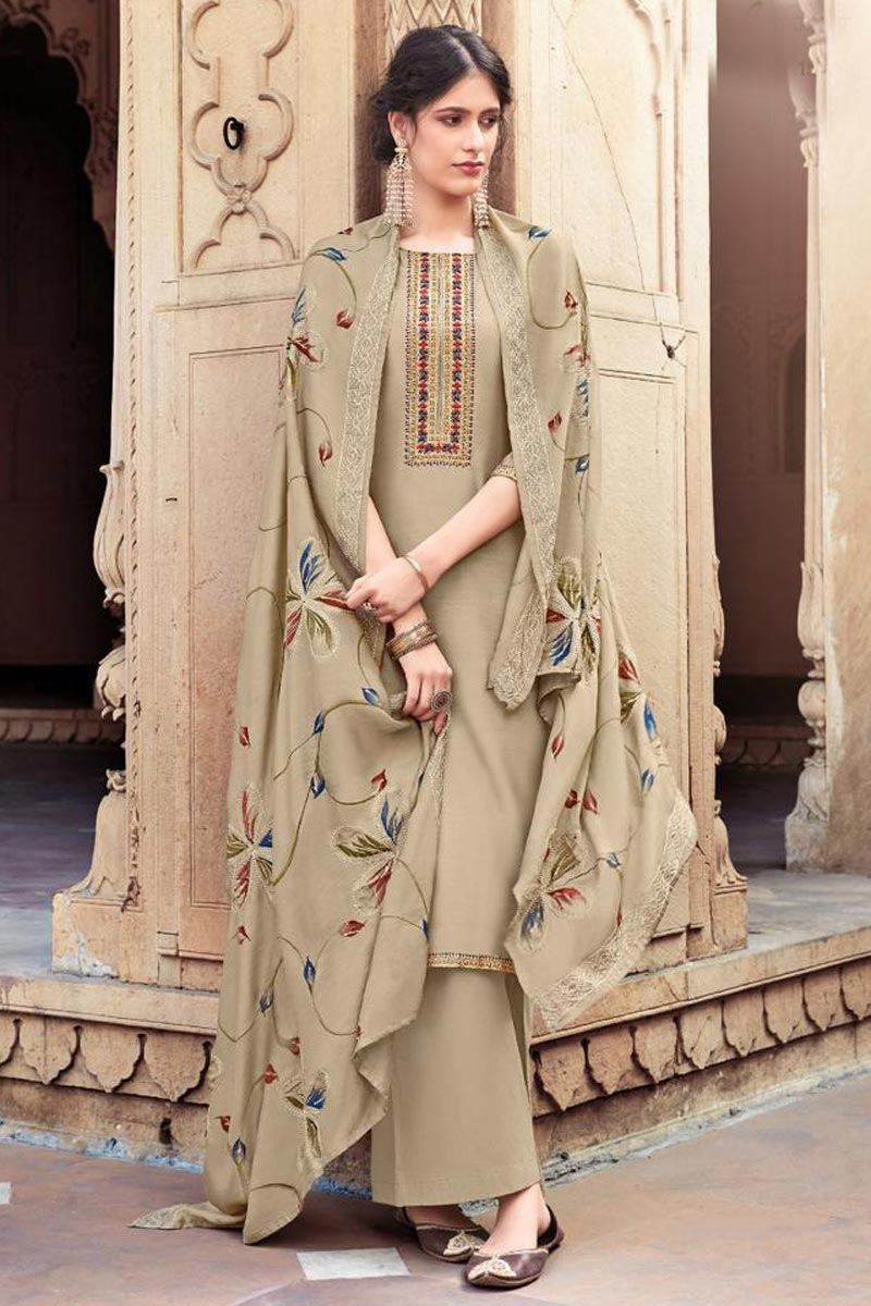 Beige Color Festive Wear Trendy Embroidered Cotton Silk Fabric Palazzo Dress