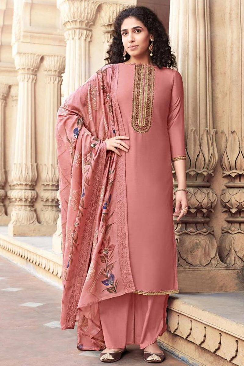 Cotton Silk Fabric Festive Wear Pink Color Trendy Embroidered Palazzo Suit