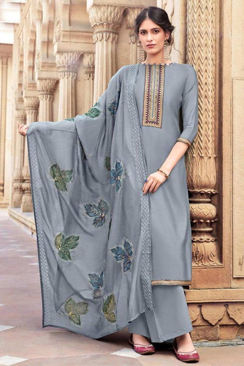 Grey Color Cotton Silk Fabric Festive Wear Trendy Embroidered Palazzo Dress