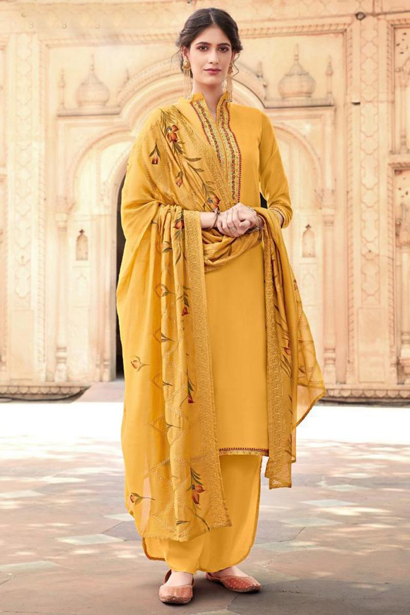 Cotton Silk Fabric Festive Wear Trendy Embroidered Palazzo Dress In Yellow Color