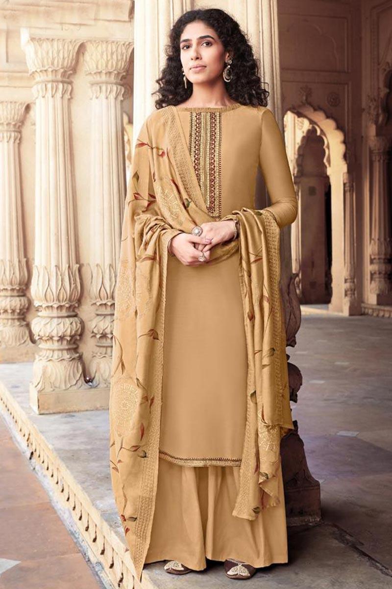 Festive Wear Cotton Silk Fabric Cream Color Trendy Embroidered Palazzo Suit