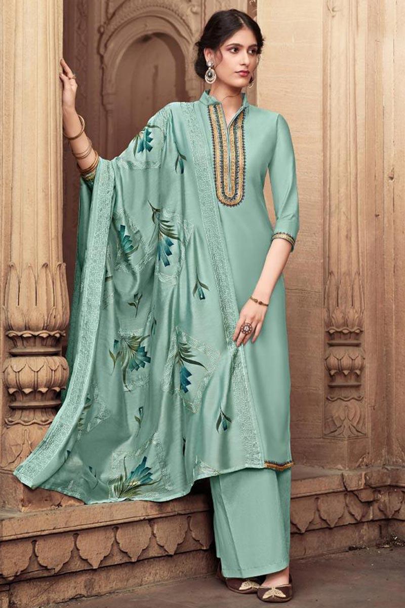 Cotton Silk Fabric Festive Wear Trendy Embroidered Sea Green Color Palazzo Dress