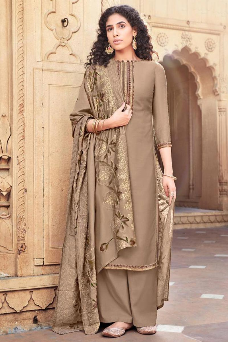 Dark Beige Color Festive Wear Cotton Silk Fabric Trendy Embroidered Palazzo Suit