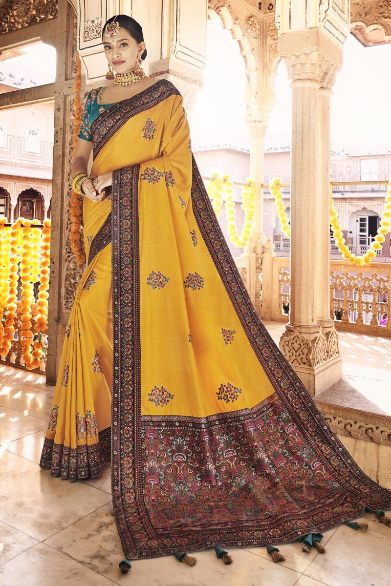 Sangeet Wear Art Silk Fabric Printed Saree In Mustard Color