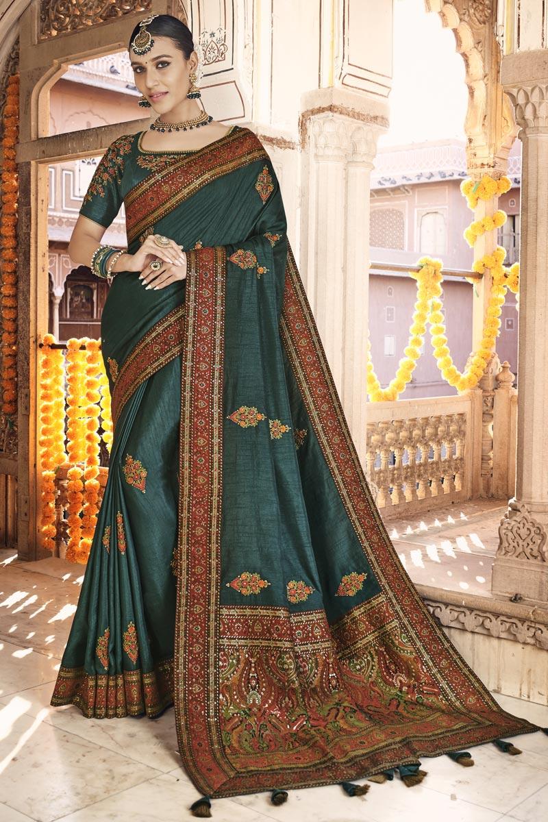 Teal Color Sangeet Wear Art Silk Fabric Printed Saree