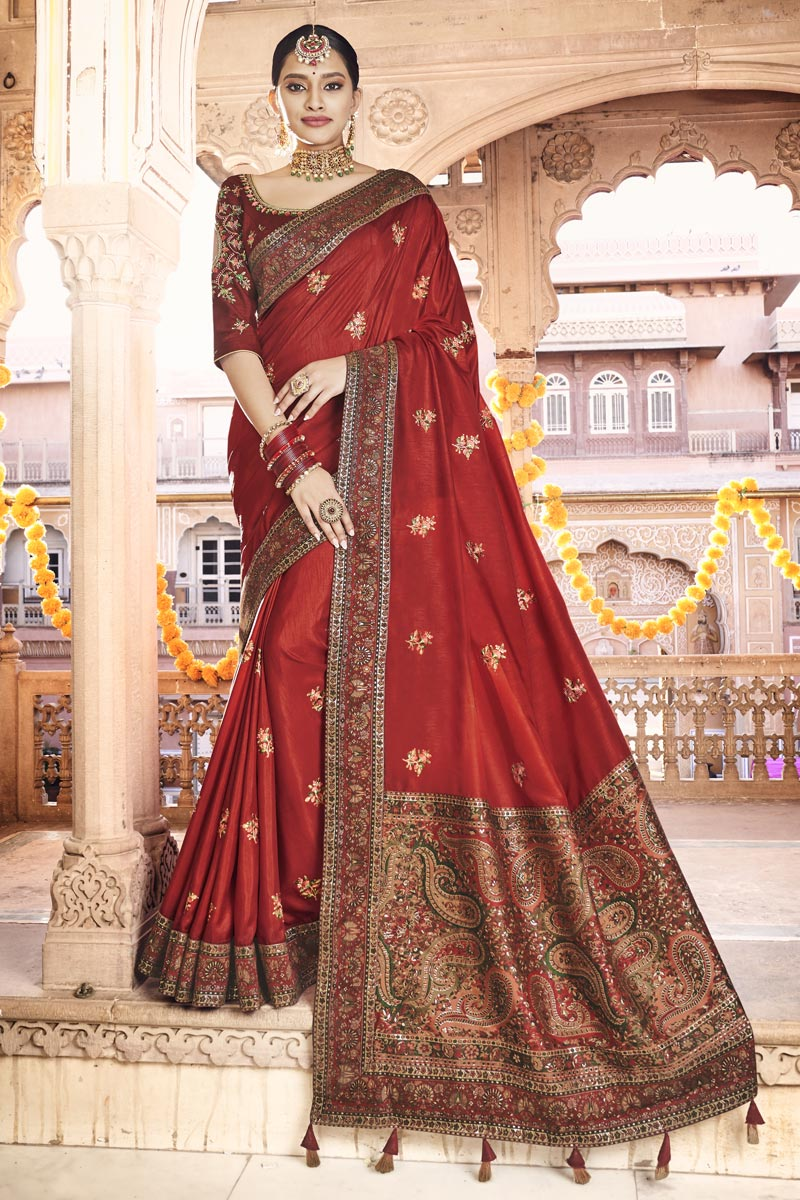 Sangeet Wear Red Color Printed Saree