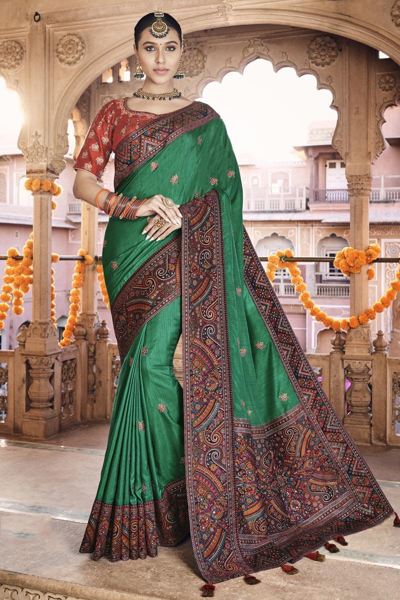 Sangeet Wear Green Color Art Silk Fabric Printed Saree