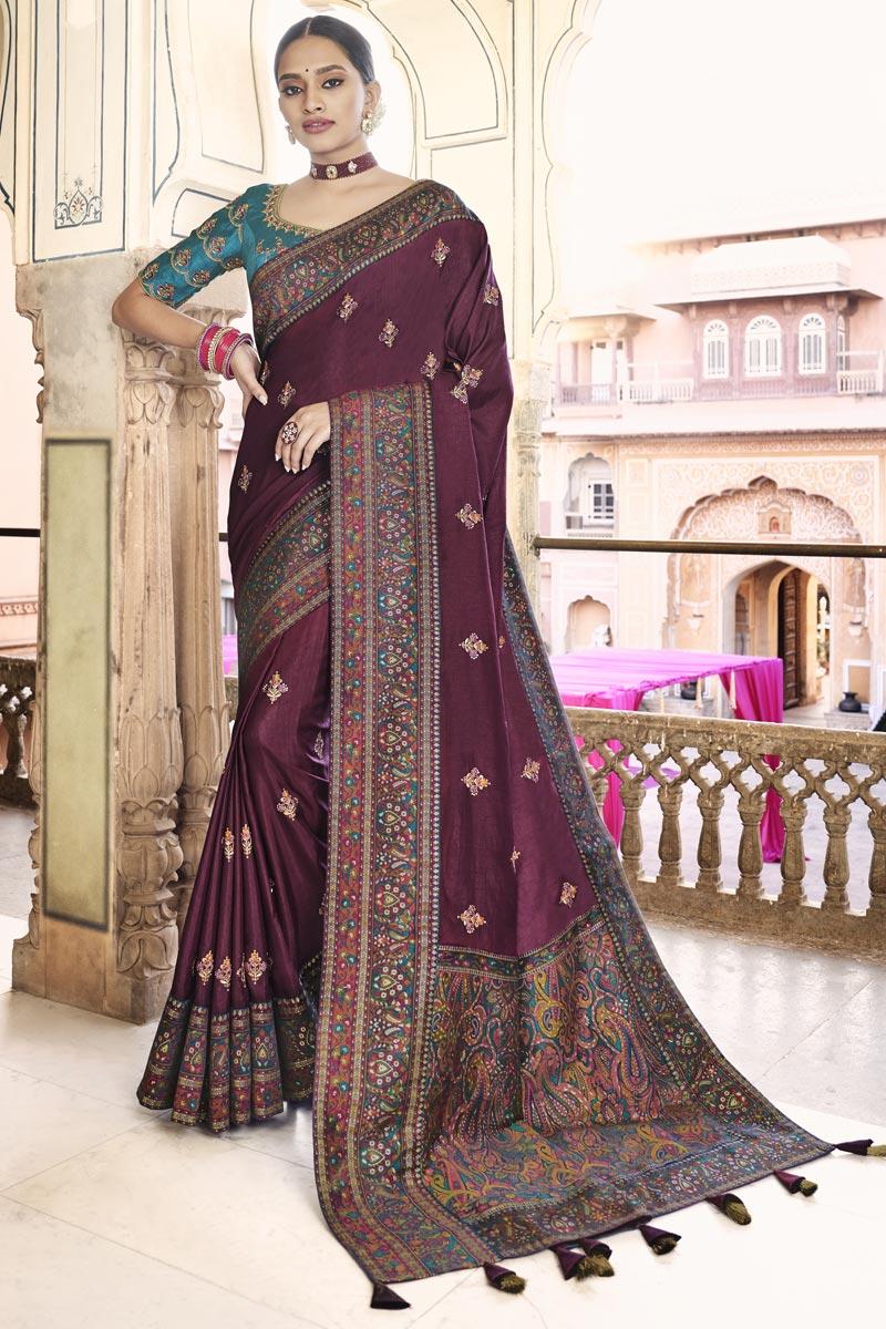 Sangeet Wear Art Silk Fabric Printed Saree In Wine Color