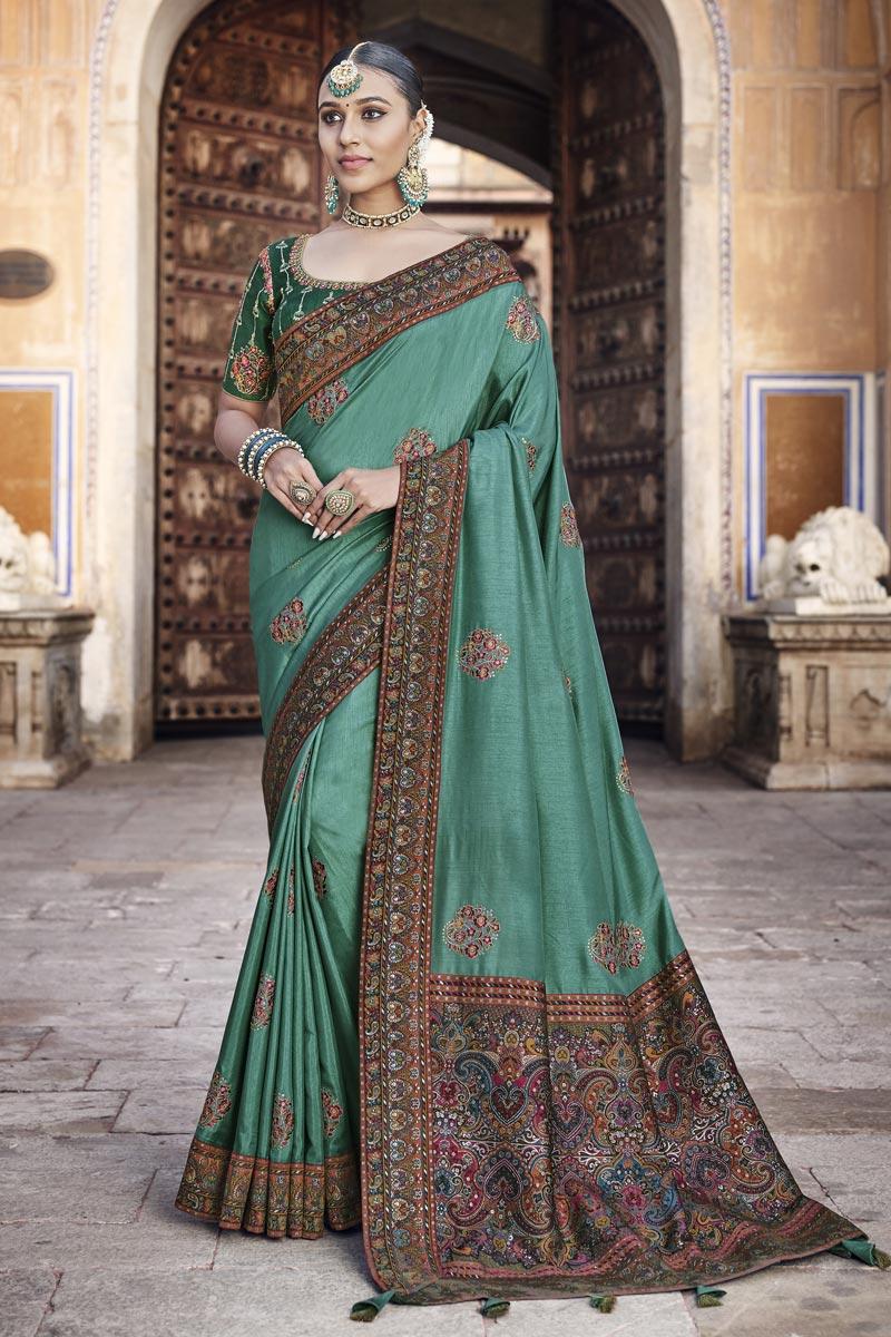 Dark Teal Color Traditional Saree In Art Silk Fabric